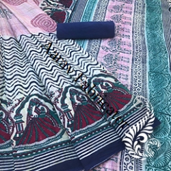 Chiffon Hand Block Printed Saree